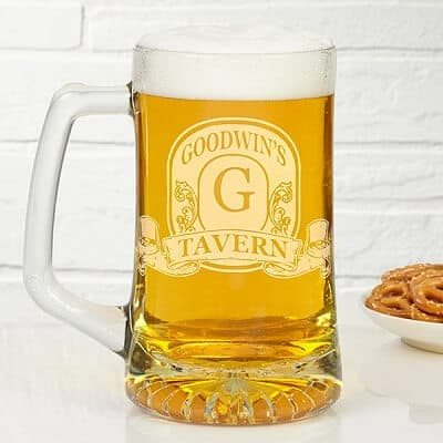 Vintage Bar Sign Personalized 25 oz. Deep-Etch Beer Mug