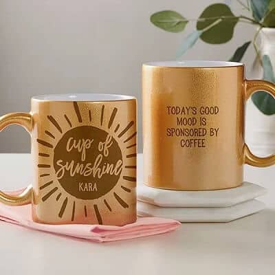 Cup of Sunshine Personalized 11 oz. Gold Glitter Coffee Mug - Gifts to Cheer Someone Up