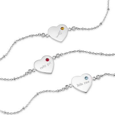 Sterling Silver Birthstone Heart Bracelet