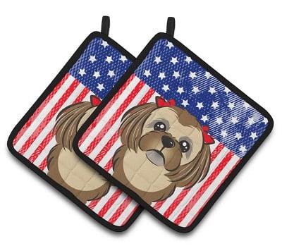 American Flag Shih Tzu Potholder