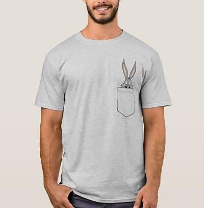 Bugs Bunny Peeking Out Of Pocket T-Shirt