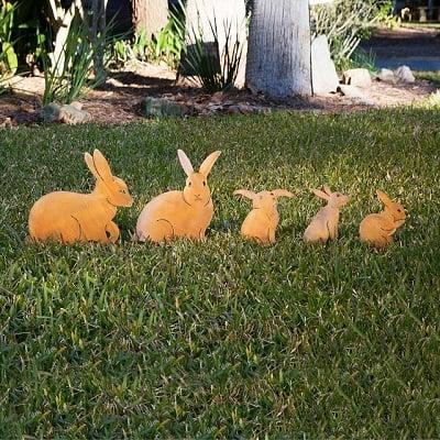 Bunny Family Garden Sculptures - Set of 5