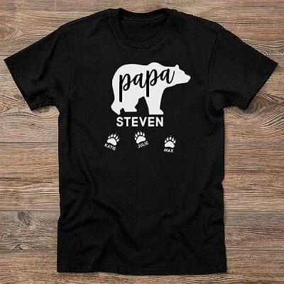 Papa Bear Personalized Hanes Adult T-Shirt