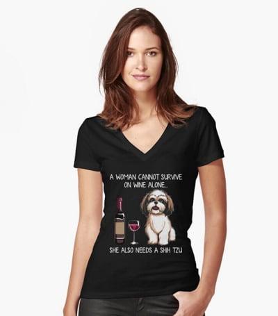 Shih Tzu and wine T-Shirt