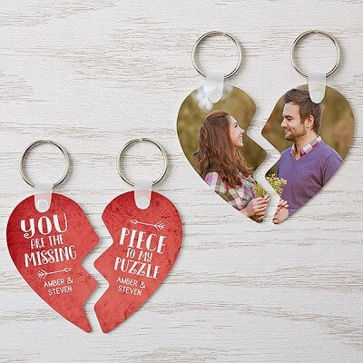 The Missing Piece Personalized Break Apart Heart Key Chains