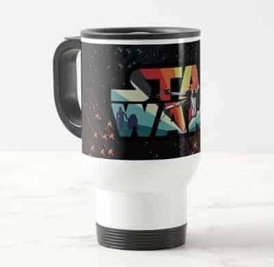 Retro X-Wing Starburst Star Wars Logo Travel Mug