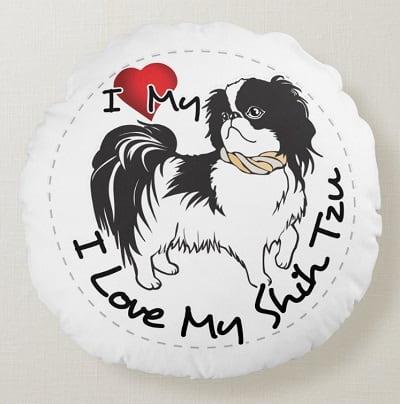I Love My Shih Tzu Round Pillow
