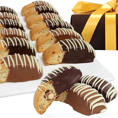 Belgian Chocolate Dipped Biscotti