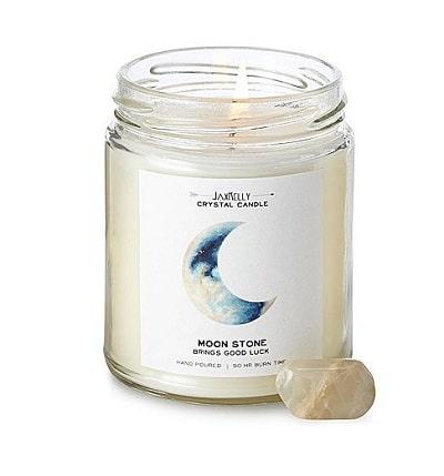 Hidden Moonstone Crystal Candle