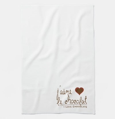 I Love Chocolate in French! Kitchen Towel