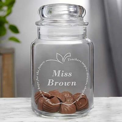 Inspiring Teacher Engraved Glass Treat Jar - Chocolate Gifts
