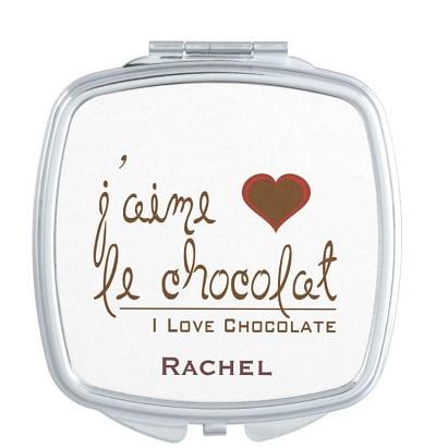 J'aime chocolate compact mirror