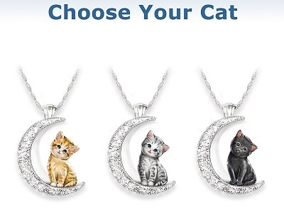Cat And Crystal Moon Pendant Necklace