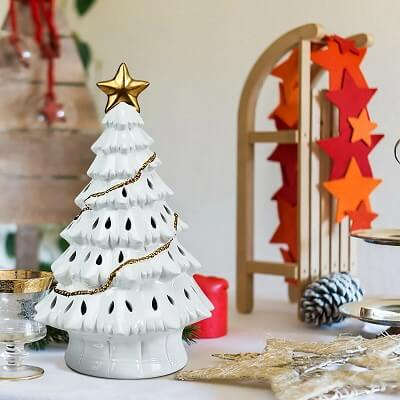 Ceramic Tabletop Christmas Tree with LED Lights