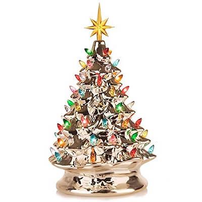 Champagne Ceramic Tabletop Christmas Tree