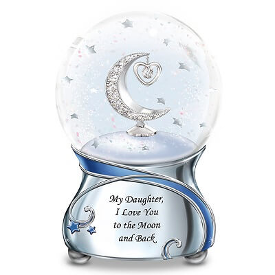 Daughter, Love You To The Moon Musical Glitter Globe