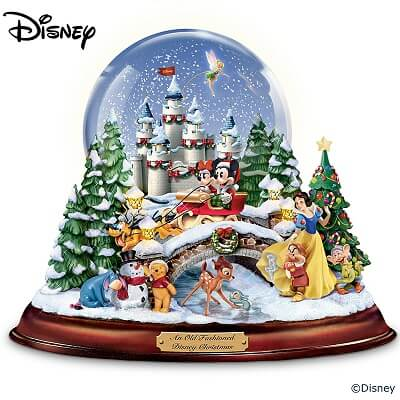 Disney Musical Christmas Snow Globe With Lights And Swirling Snow
