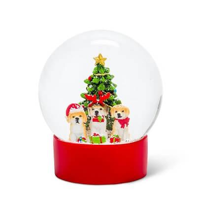 Dog Trio with Tree Christmas Snow Globe