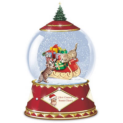 Here Comes Santa Claws Musical Christmas Snow Globe