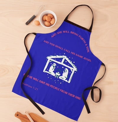Jesus In A Manger Religious Christmas Apron