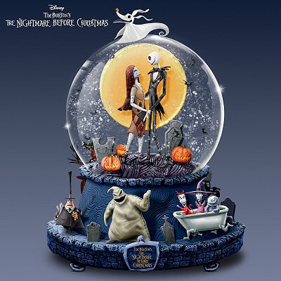 Nightmare Before Christmas Rotating Musical Glitter Globe