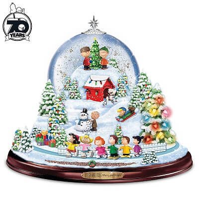 Peanuts Christmas Snow Globe With Lights, Music And Motion - Magical Christmas Snow Globes