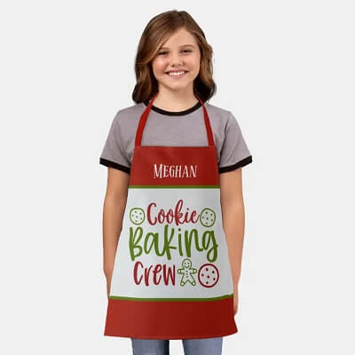 Personalized Cookie Baking Crew Kids Christmas Apron