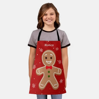 Personalized Gingerbread Kids Christmas Apron