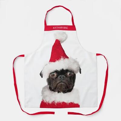 Pug in Santa Hat Dog Christmas Apron