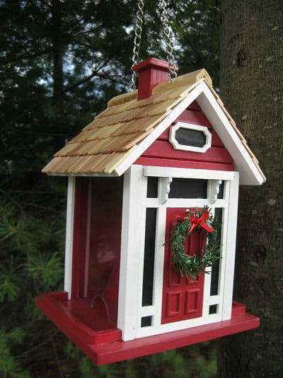 Red Christmas Cottage Bird Feeder