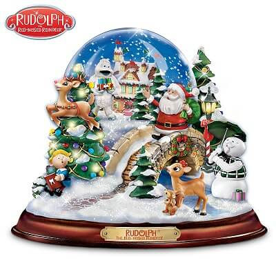 Rudolph Musical Christmas Snow Globe With Swirling Snow And Lights