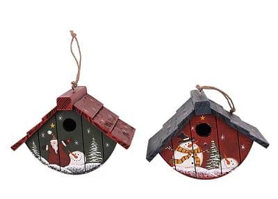 Set of 2 Handpainted Christmas Birdhouses