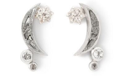 Shimmering Moon Raw Diamond Earrings