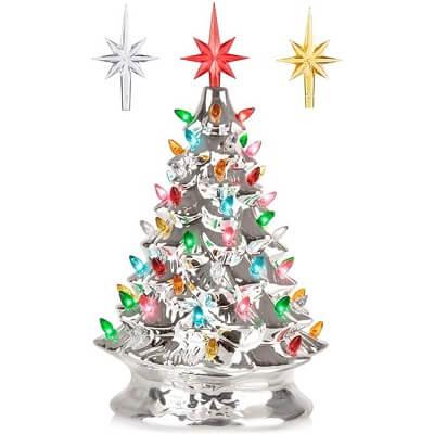 Silver Ceramic Tabletop Christmas Tree