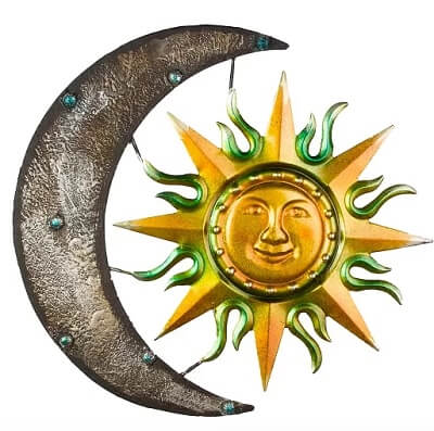 Sun and Moon Hanging Metal Wall Décor