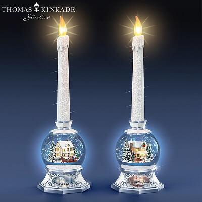 Thomas Kinkade Flameless Candle Christmas Snow Globe Set