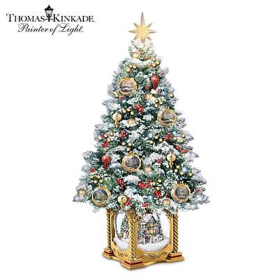 Thomas Kinkade Illuminated Musical Snow Globe Tabletop Christmas Tree