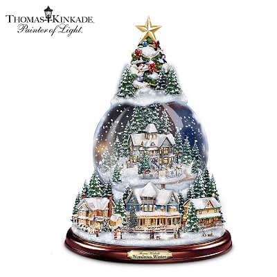 Thomas Kinkade Lighted Musical Christmas Snow Globe Tree