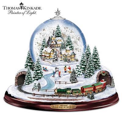 Thomas Kinkade Village Christmas Snow Globe with Lights, Music and Train