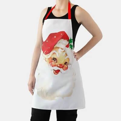 Vintage Retro Jolly Old Santa Claus Christmas Apron