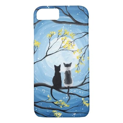 Whimsical Moon with Cats Phone Case