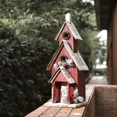 Wooden Church Christmas Birdhouse