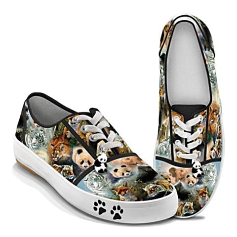 Canvas Sneakers With Wildlife Art
