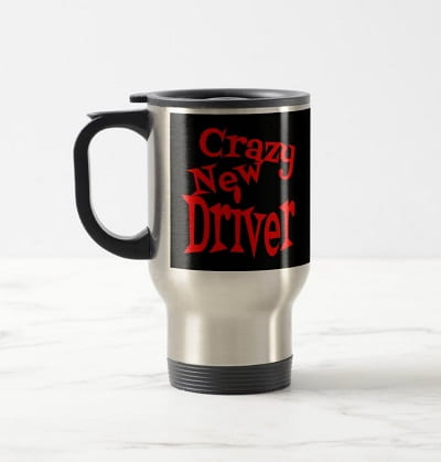 Crazy New Driver in Red Travel Mug