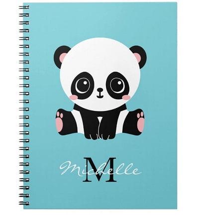 Cute Panda Personalized Bubble Gum Blue Notebook