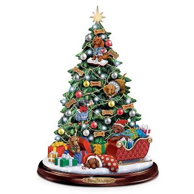 Dachshund Illuminated Tabletop Christmas Tree