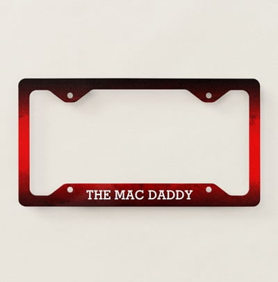 Funny Mac Daddy Red and Black License Plate Frame