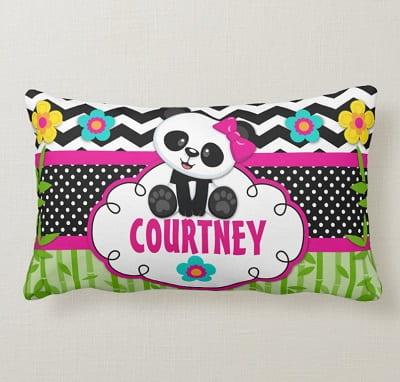 Girls Room Panda Bear Personalized Pillow
