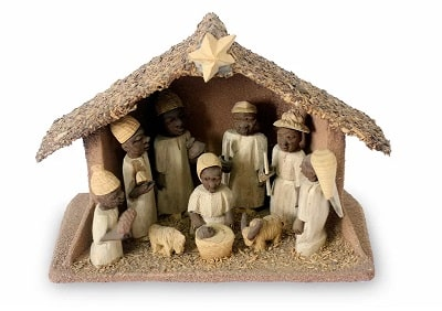 Hand Crafted Wood African American Nativity Set