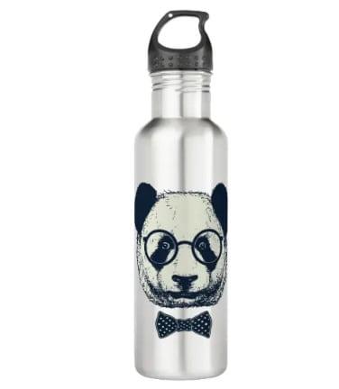 Hipster Panda Stainless Steel Water Bottle